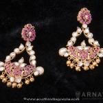 Gold Kundan Ruby Earrings from Arnav