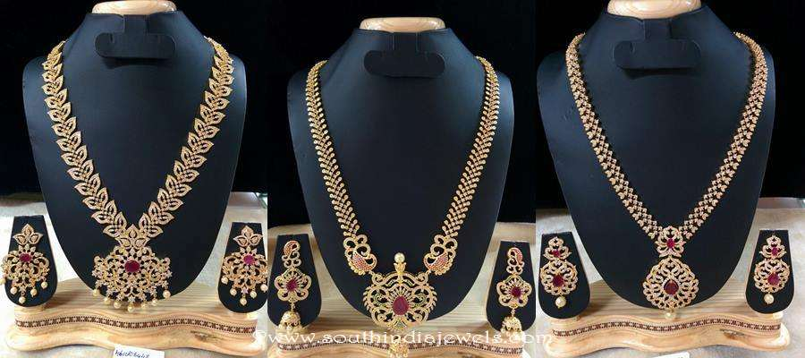 1 gram gold long necklace latest designs