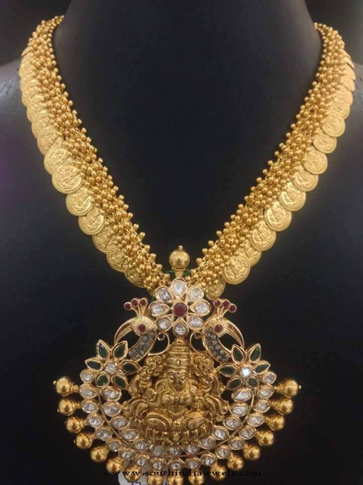 22k gold clustered beads coin necklace
