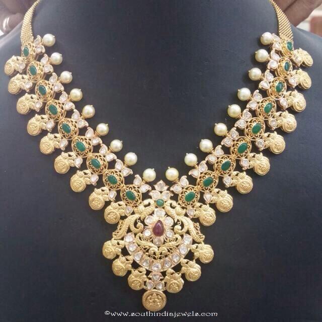 22k gold emerald necklace design