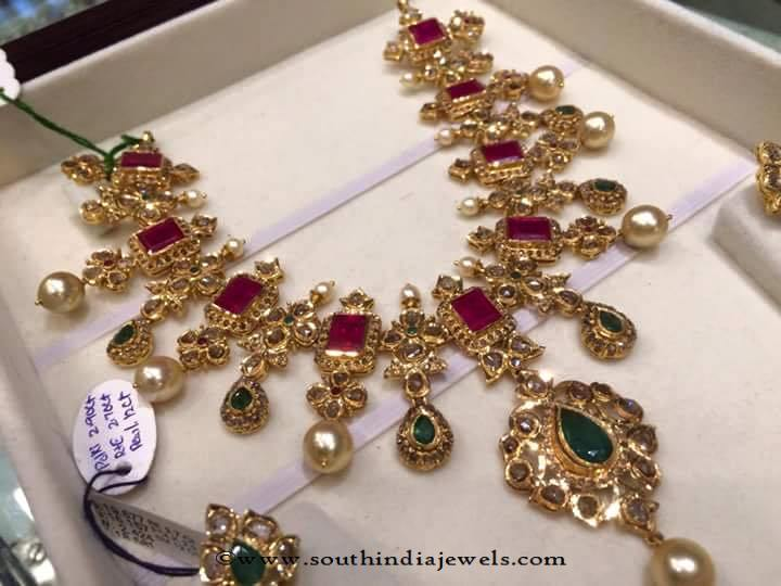 96 Grams Gold Ruby Emerald Necklace