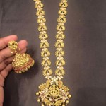Gold Antique Long Necklace with Jhumki