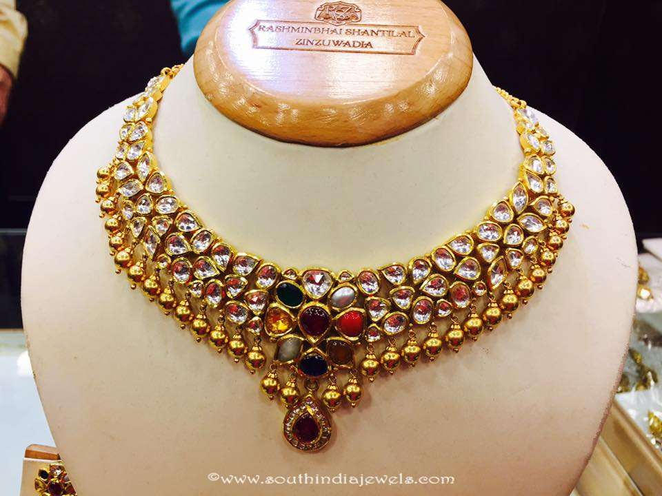Gold Kundan Navarathna necklace