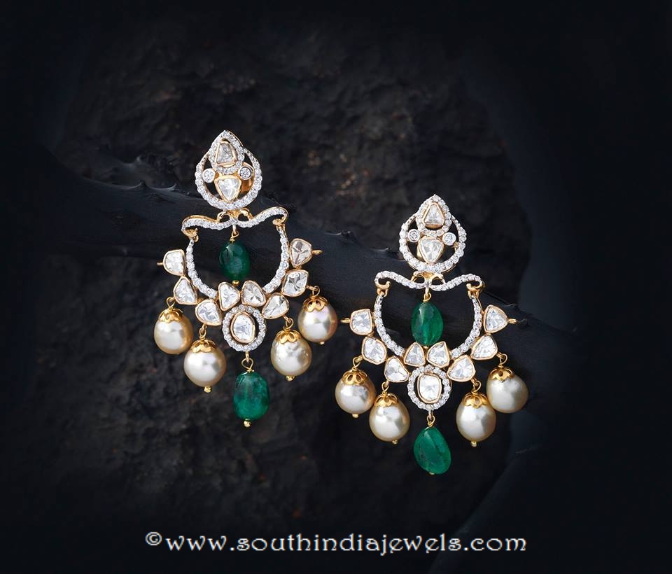 Unique Gold Pearl Emerald Earrings ~ South India Jewels KQ06