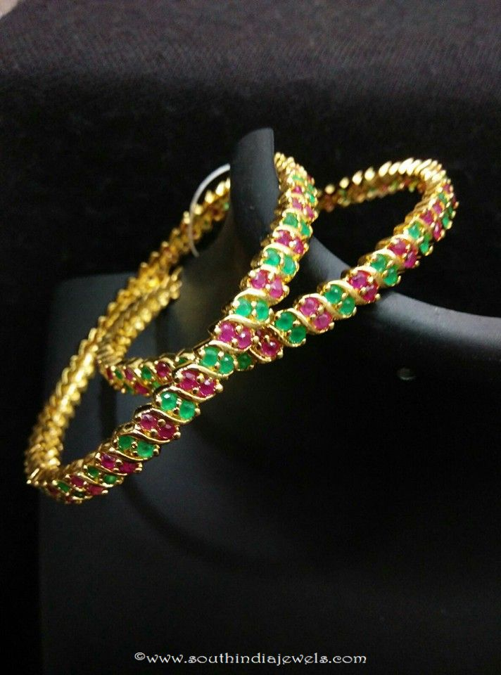 Gold Plated Ruby Emerald Bangle
