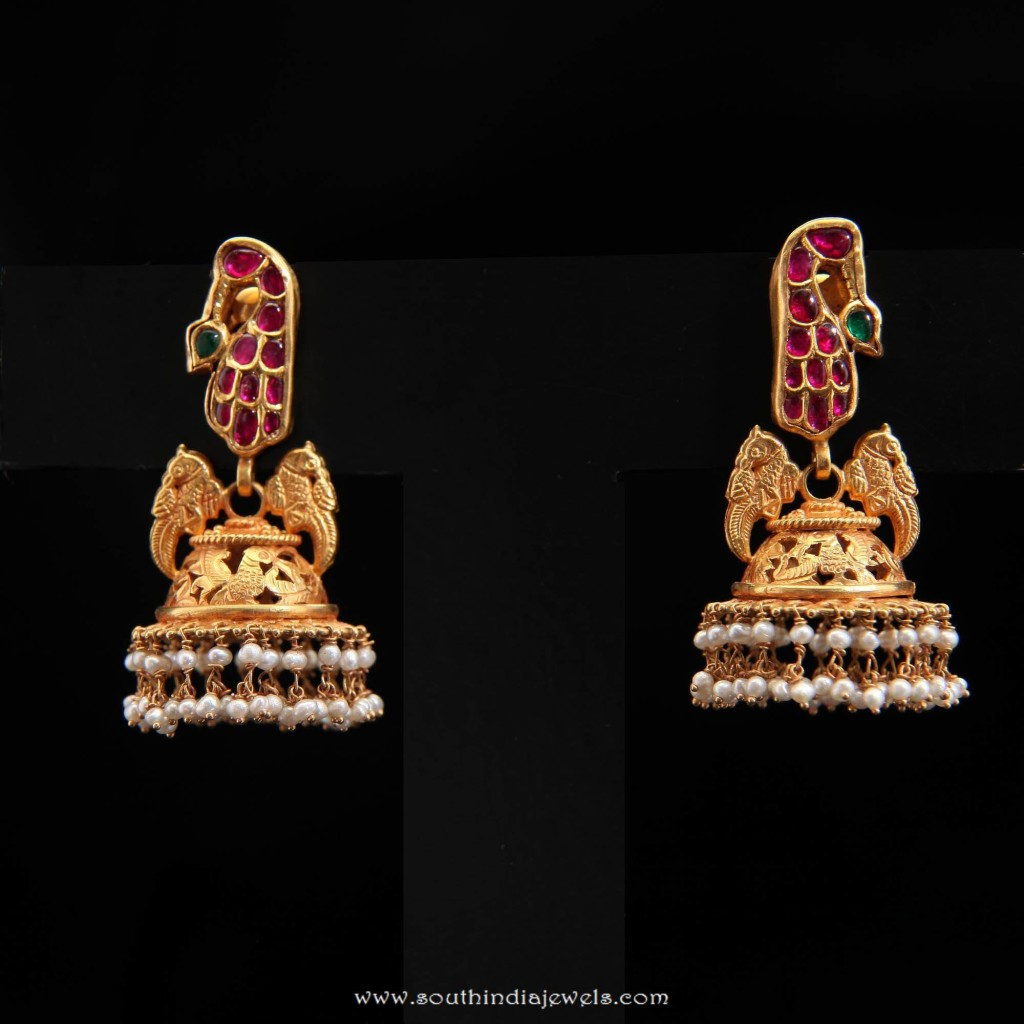Gold Antique Jhumka from Dar Jewellery