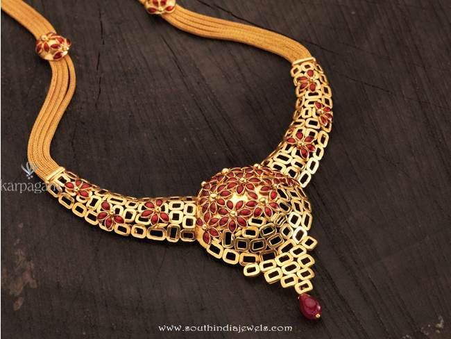 Gold Floral Necklace From Karpagam Jewellers