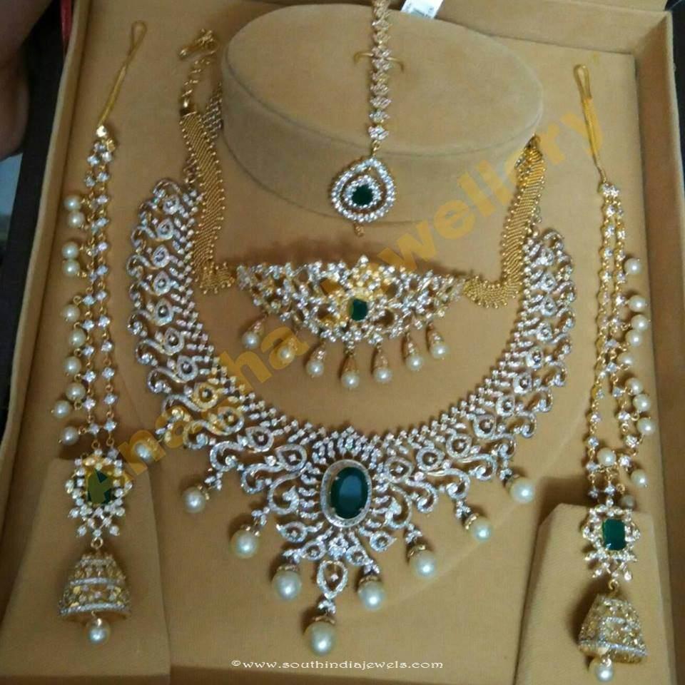 Diamond Bridal Jewellery Set Anagha