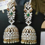 Diamond Emerald Jhumka from Ishwarya Diamonds