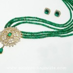 Beaded Mala with Emerald Pendant