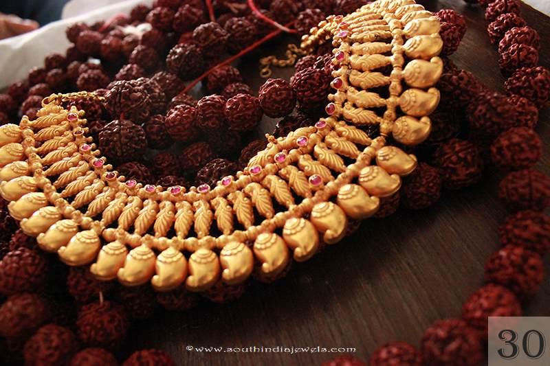 Gold Antique Mango Choker From Sayar Jewellery