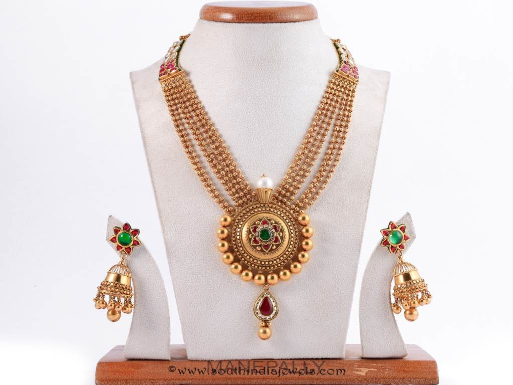 Gold Antique Necklace From Manepally Jewellers