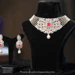 Gold Diamond Bridal Necklace Set from Manepally Jewellers