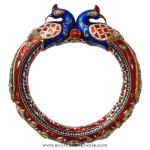 Gold Enamel Kada Bangle