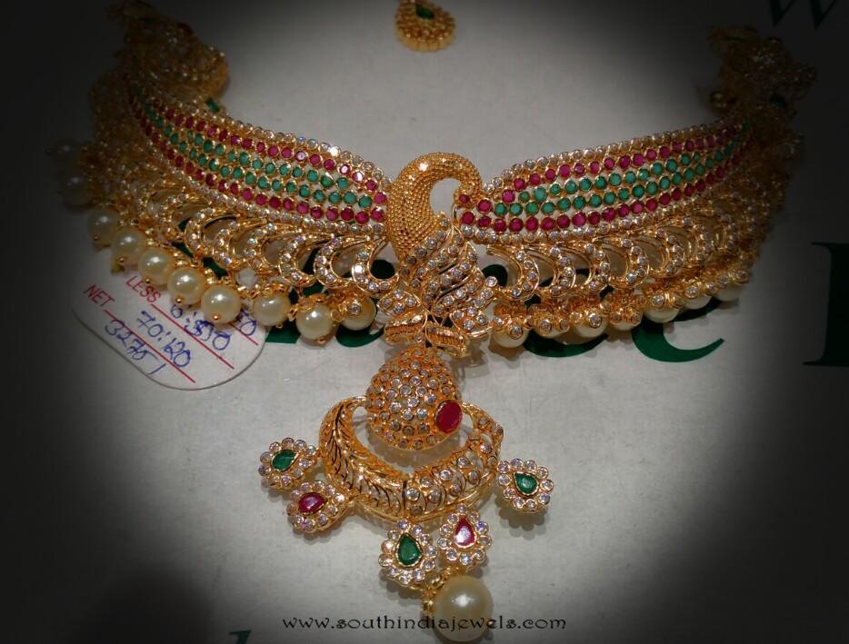 Gold Peacock Choker Necklace from Navkar Gold World