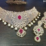 Gold Plated AD Ruby Choker From Dimple Collections