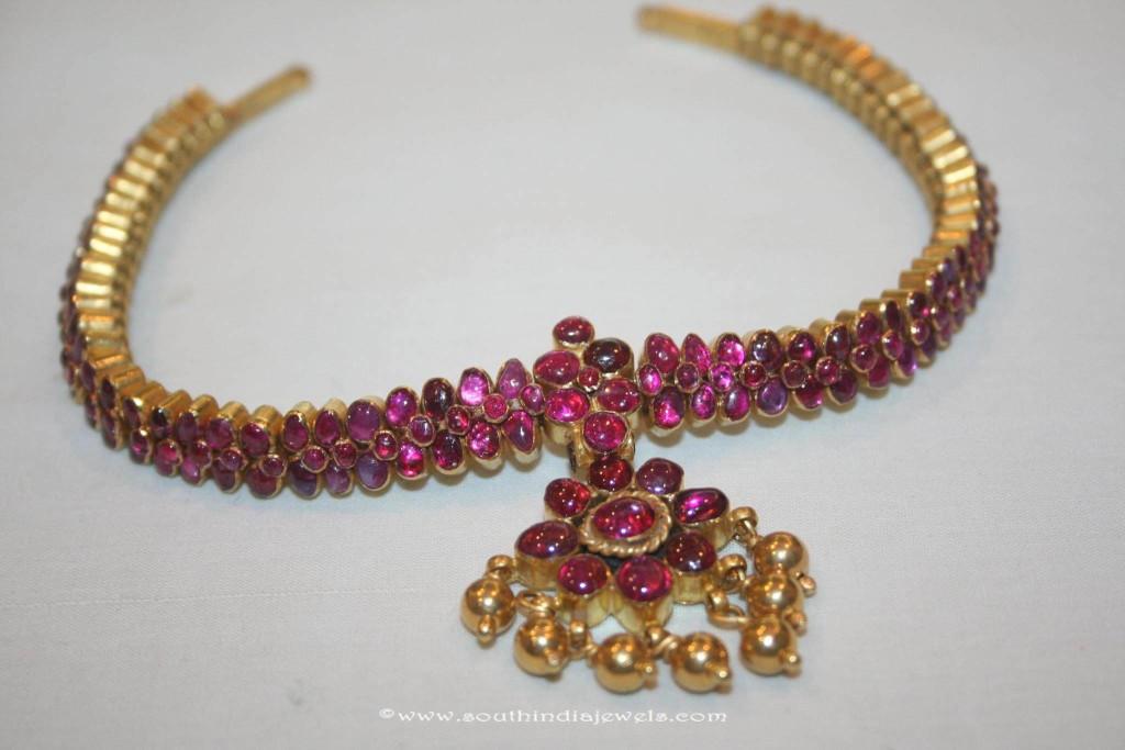 Gold Ruby Attigai Necklace from Prakurthi