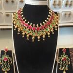 Gold Ruby Emerald Choker From Shubham Jewellers