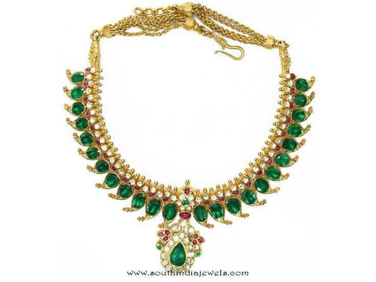 Mango mala with emerald rose cut diamonds