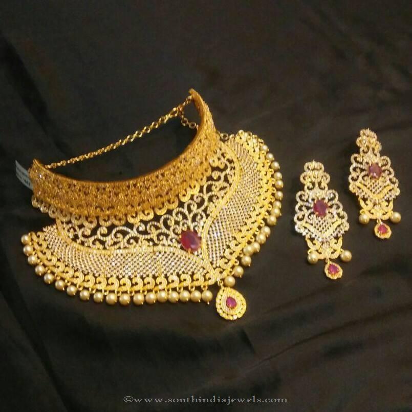 1 Gram Gold Choker Necklace from Brundavan Jewellery