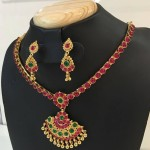 1 Gram Gold Ruby Attigai with Earrings