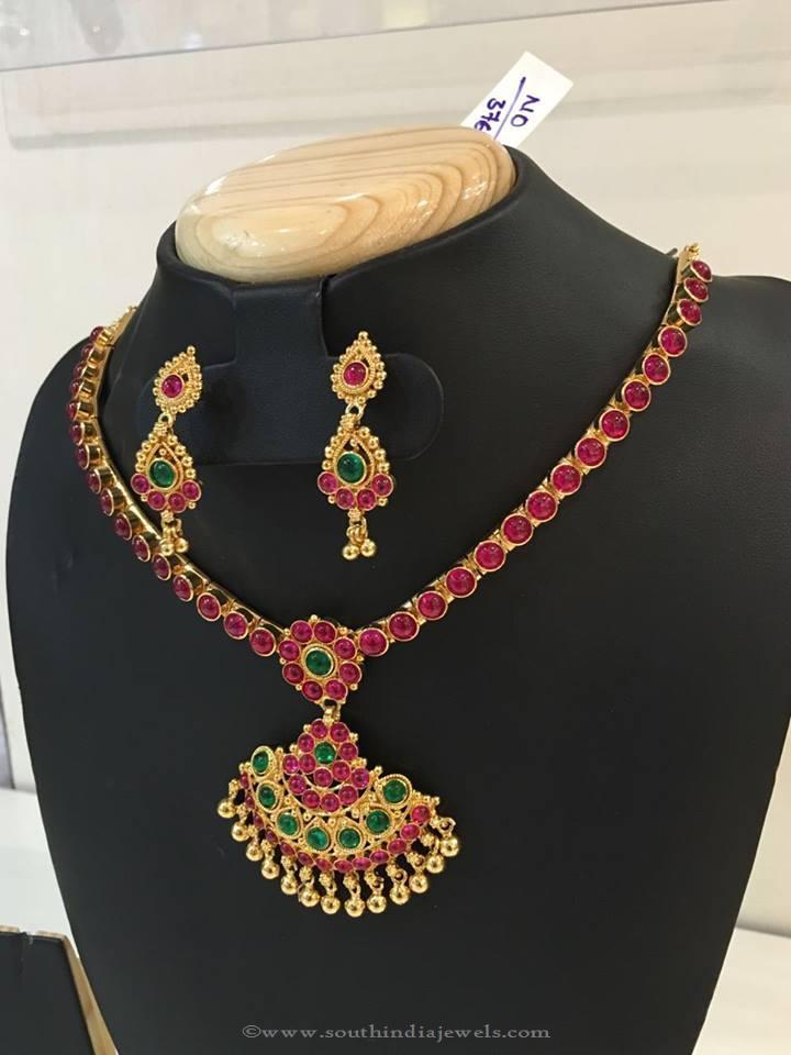 1 Gram Gold Ruby Attigai with Earrings