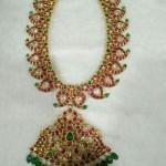 22K Gold Ruby Emerald Mango Necklace Design