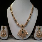 Gold CZ Emerald Necklace set with Sri Ram Jewellery