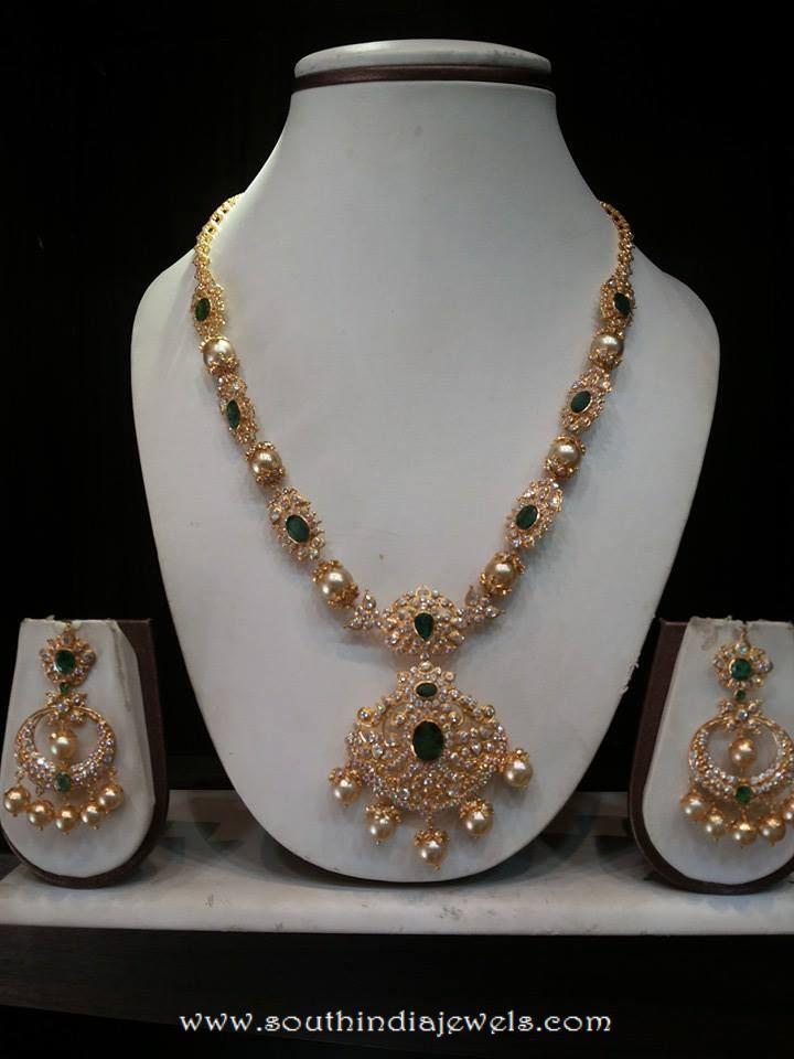 Gold CZ Emerald Necklace set with Sri Ram Jewellery