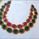 Double Layer Gold Ruby Emerald Necklace