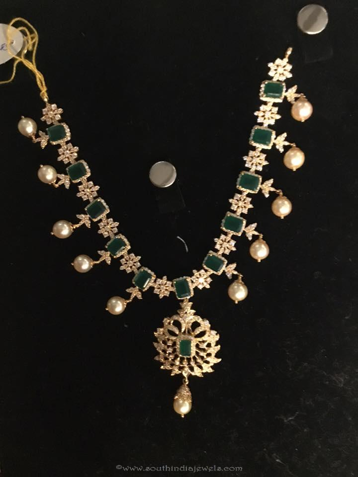 Gold Emerald CZ Stone Necklace