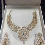 Gold CZ Stone Necklace Set from Veerabhadra Jewellery