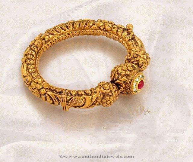 Gold Antique Bangle Design From Jos Alukkas