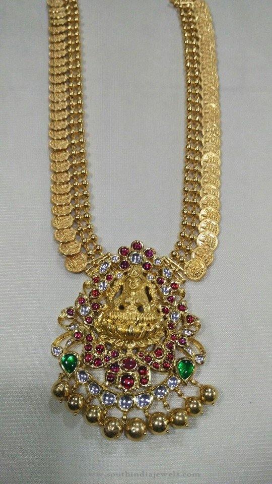 Gold Antique Kasumalai with Lakshmi Pendant
