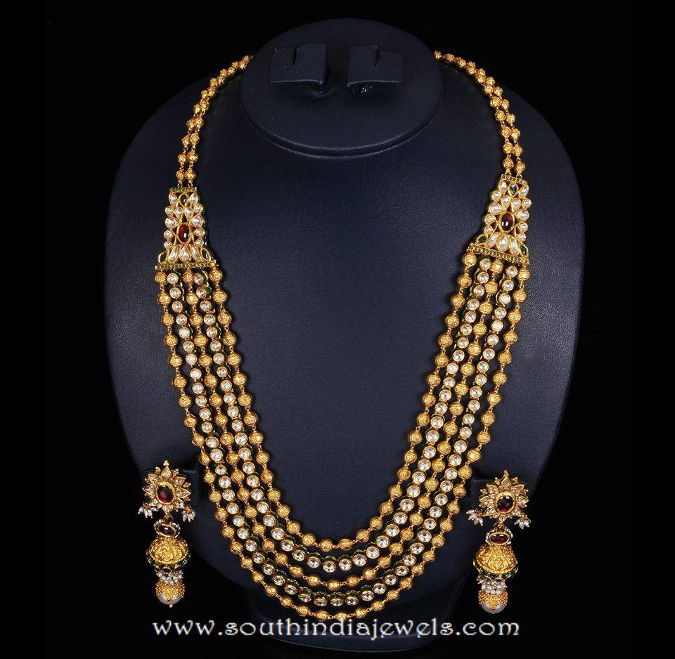 Gold Antique Multi layer Long Necklace Set