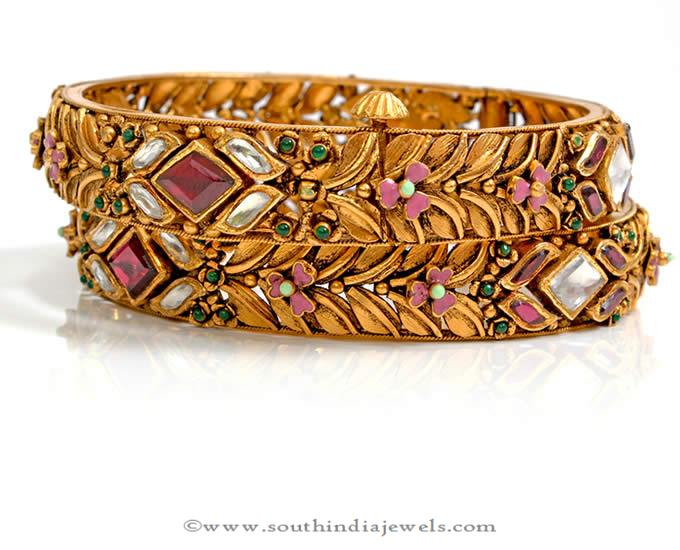 Gold Antique Polki Bangle from PNG Adgil Jewellers