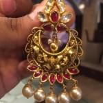 Gold Antique Ruby Chandbali From PSJ