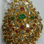 Gold Antique Ruby Emerald Pendant