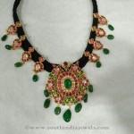 Gold Black Thread Ruby Emerald Necklace