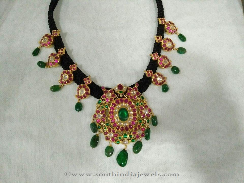 Gold Black Thread Ruby Emerald Necklace