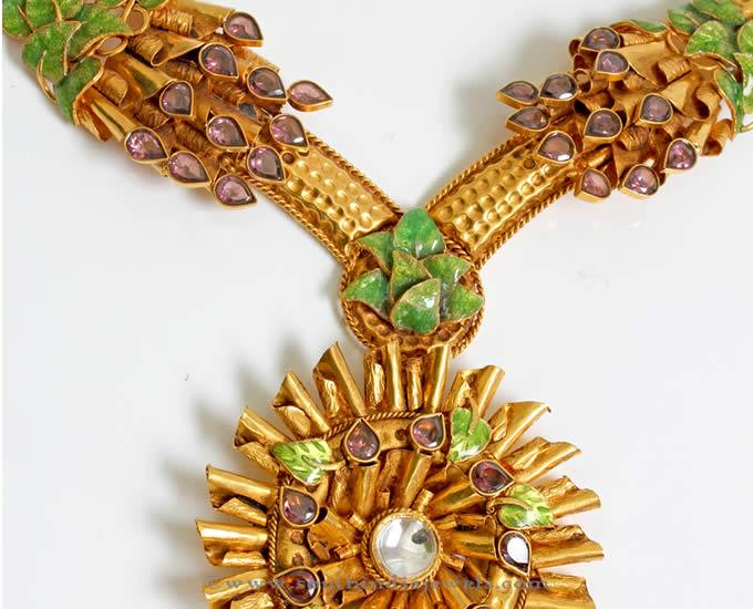 Gold Designer Polki Necklace From PNG