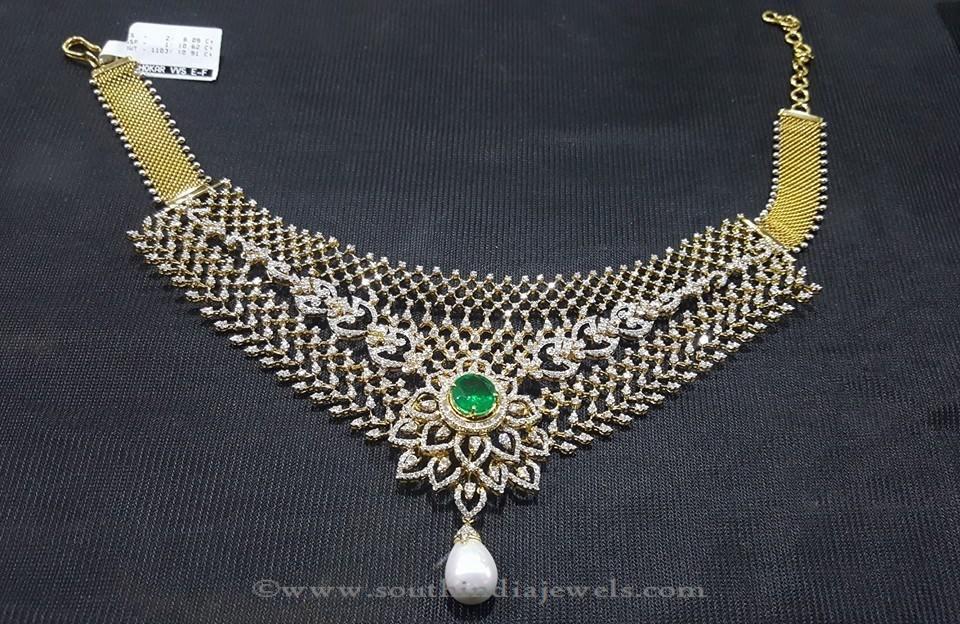 Gold Diamond Emerald Necklace by Sri Balaji Jewellers