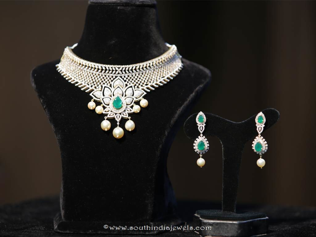 Gold Floral Diamon Necklae From Manepally Jewellery
