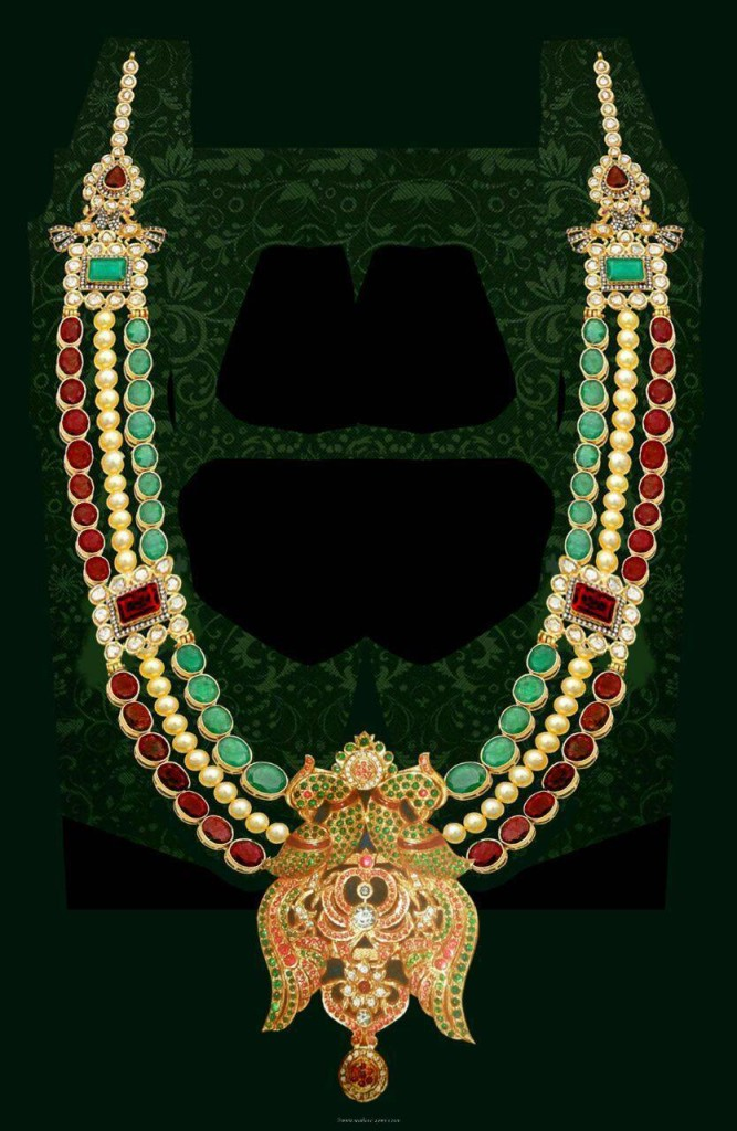 Gold Designer Multilayer Long Necklace From Mahalaxmi Jewellers