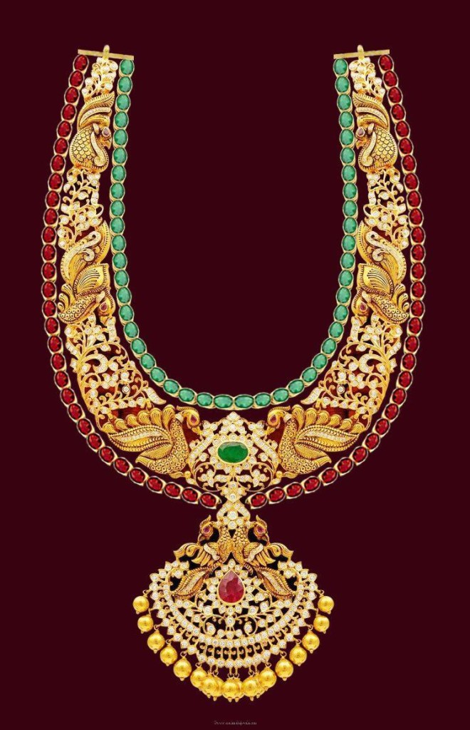 Gold Peacock Long Necklace from Mahalaxmi Jewellers
