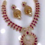 Gold Plated CZ stone Ruby Necklace