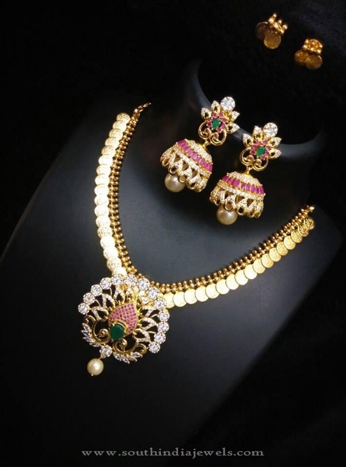 Gold Plated Kasumalai with Dual Earrings
