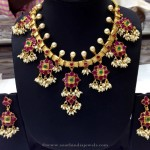 Gold Plated Ruby Guttapusalu Necklace