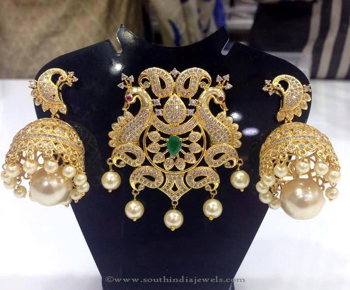 Gold Plated Stone Pendant Set with Jhumka