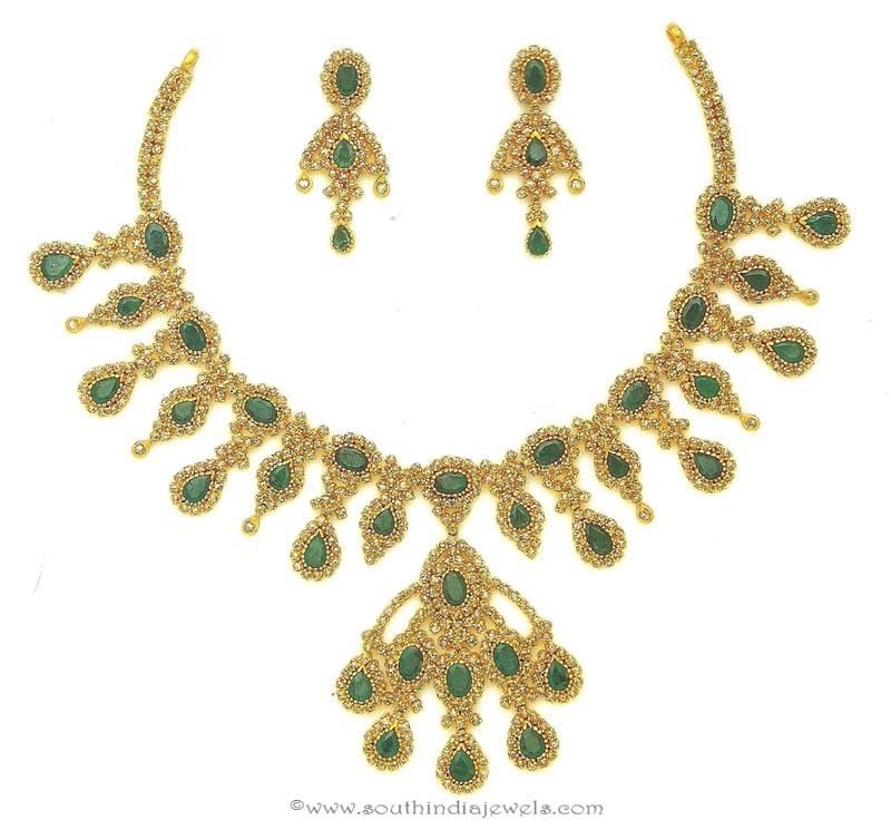Gold Polki Emerald Necklace from M.Bajranglal Jewellers